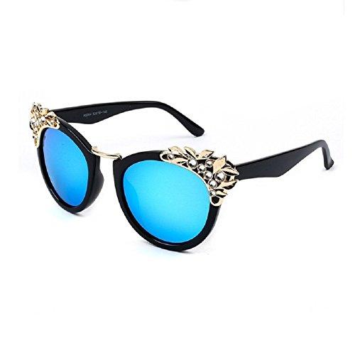 O-C moda donna lusso Cateye occhiali da sole 60mm Black frame,Blue lens