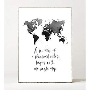 DIN A4 Kunstdruck Poster ONE SINGLE STEP -ungerahmt- Typografie, Reisen, Spruch, Bild, Weltkarte