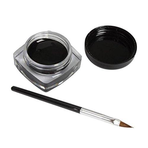 Winwintom 2 PCS mini vie étanche Eyeliner gel crème avec maquillage de brosse noire cosmétique