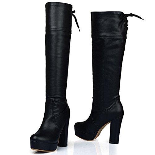 TAOFFEN Damen Klassischer Blockabsatz Stiefel Plateau Lange Stiefel Mit Absätzen Schwarz