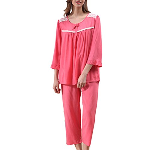 Zhhlaixing Casual Womens Bow Round Neck Sleepwear Set Fashion Pyjama 3 Colors Watermelon Red