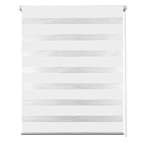 MCTECH® Blanco Estor enrollables Dobles Noche y Dia translucido, sin perforación, ensamblaje Simple con Clip Klemmfix, 60 x 120 cm (Blanco, 60 x 120 cm)