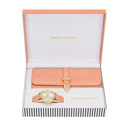 Damen-Armbanduhr, Geldbörse, Geschenkset, Pfirsichfarben -
