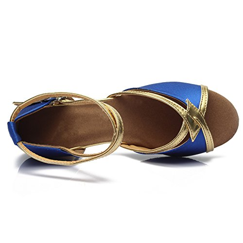 HROYL Mädchen Tanzschuhe/Latin Dance Schuhe Satin Ballsaal Modell-DS-206 Blau