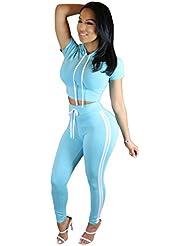 Alaix al aire libre juego del deporte simple con capucha Tops Pant chándales deportivos para mujeres Cielo azul-M