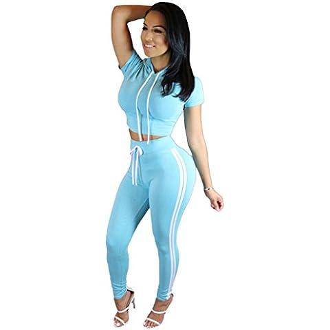 Alaix al aire libre juego del deporte simple con capucha Tops Pant chándales deportivos para mujeres Cielo azul-S