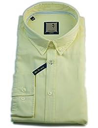Seidensticker Herren Langarm Hemd Schwarze Rose Slim Fit Washed Spezial Button-Down-Kragen gelb 440852.61