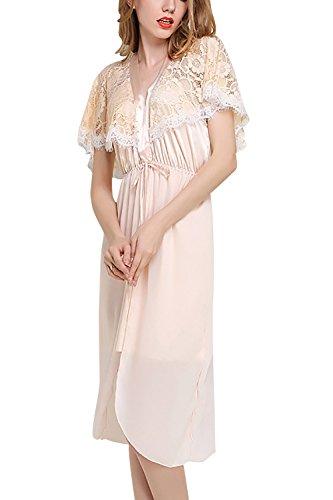 Dolamen Chemises de nuit Femmes Satin, Femmes Ensemble de Pyjama, Luxe & Lingerie Mousseline à manches courtes Long Nightdress Dentelle chemise de nuit longue Or