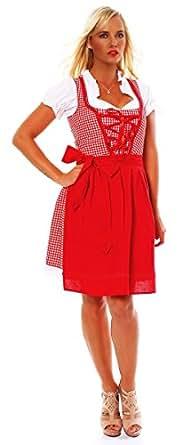 10590 Fashion4Young Damen Dirndl 3 tlg.Trachtenkleid Kleid Mini Bluse Schürze Trachten Oktoberfest (34, Rot Weiß)