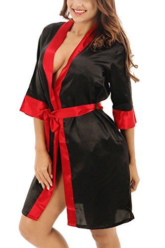 Dolamen Damen Morgenmantel Kimono, Luxuriös glatte Farben trimmen Satin Nachtwäsche Bademantel Robe Kimono Negligee Nachthemd Sleepshirt Seidenrobe locker Schlafanzug Schwarz