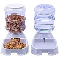 Alimentador automático Alimentador de alimentos para mascotas automático portátil y conjunto de agua Alimentador de suministro de viaje y dispensador de agua para perros Gatos Mascotas Animales   gris