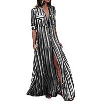 5bac78d8a1 Vestidos de Fiesta Mujer Cortos Sexy Mosstars Vestido de Traje Largo Rayas  largas botón Bohe Beach
