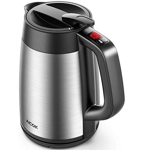 AICOK Wasserkocher, 1,7L Wasserkocher mit Temperatureinstellung 40,50,60,70,80,90, und 100℃, Doppelwandigeraus Edelstahl Verbrühungsschutz, Warmhaltefunktion(6 Stunden), BPA-Frei, 2200W