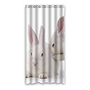 white cute rabbit waterproof polyester fabric shower curtain bathroom shower curtain 36 x72. Black Bedroom Furniture Sets. Home Design Ideas
