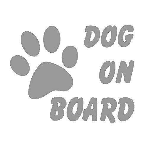 DIY WELT Sticker, Autoaufkleber Dog ON Board mit Pfote, ca. 15x12cm verfügbar in 2 Varianten (Silber)