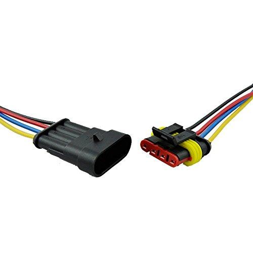 E Support/™ 10 X Connecteur Electrique Etanche Prise 3 Pin Kit avec Fil AWG pour Voiture Connecteur auto c?bler