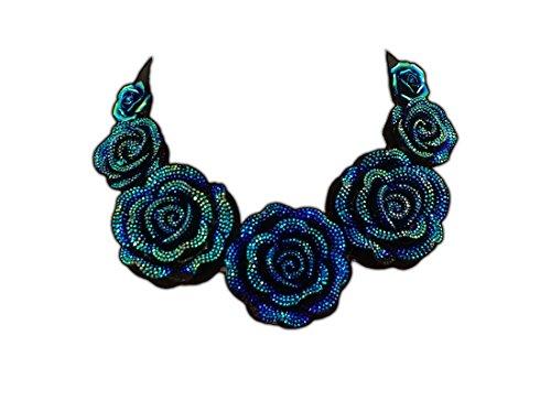 Flor Azul, Rosa Tela Collar de Gargantilla, Moda, Regalo Para Ella