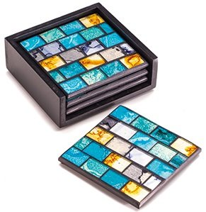 Handmade Rainbow or Turquoise, Silver and Gold Set of 4 Glass Tile Mosaic Coasters/Drinks Mats with a Ceramic Base and Black Wooden Box/Holder (Turquoise, Silver & Gold)