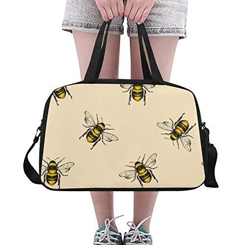 Plosds Hartes Arbeiten Cute Bee Große Yoga Gym Totes Fitness Handtaschen Reise Seesäcke Schultergurt Schuhbeutel für die Übung Sport Gepäck für Mädchen Männer Womens Outdoor