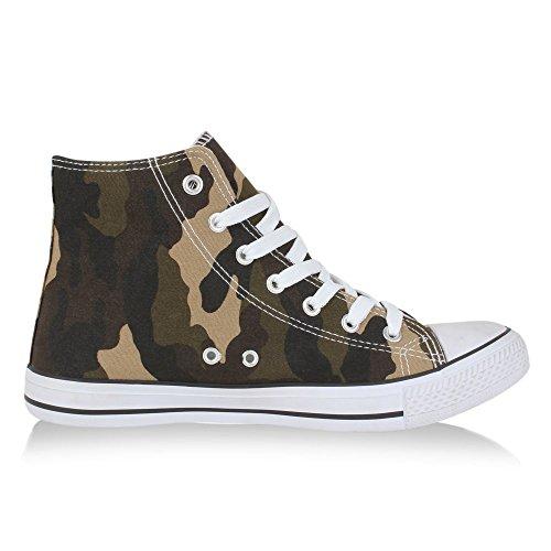 Bequeme Canvas Sneakers | High-Cut Modell | Basic Freizeit Schuhe | Viele Farben und Muster | Gr. 36-42 Camouflage