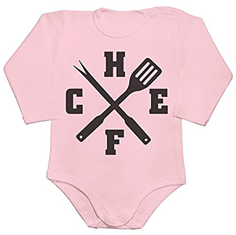 Chef, Spatula And Meat Fork Crossed Baby Romper Long Sleeve Bodysuit XX-Large
