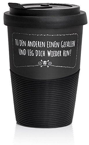 Pechkeks Kaffee Thermobecher to go Porzellan mit Deckel, Spruch