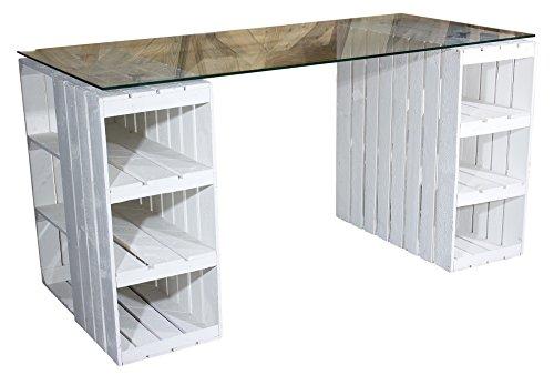 Vinterior Shabby Chic Schreibtisch aus Neuen Holzkisten/Obstkisten/ Apfelkisten in Weiss inkl. klarer Glasplatte 150x70x75cm