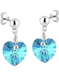 Elli  Damen-Ohrhänger Herz 925 Silber Kristall blau Rundschliff   - 0303971616