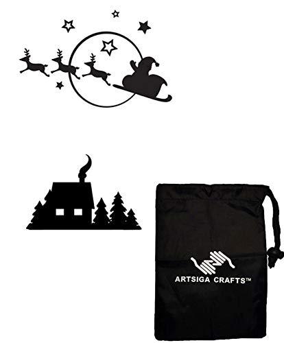 Schlitten Tasche (Darice Papercraft Prägeschablone, Weihnachtsmann Schlitten, 4,5 x 5,75 1218-40 Bündel mit 1 Artsiga Crafts kleiner Tasche)