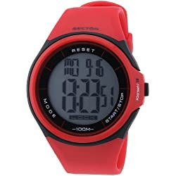 Sector Unisex Digital Watch with LCD Dial Digital Display and Red PU Strap R3251172028