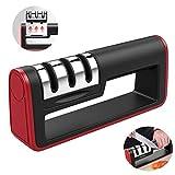 ZOCONE Messerschärfer Messerschleifer Manuelle Messerschärfer 3 Stufen Messerschleifer Enorm Effektiv für Edelstahl und Keramikmesser Aller Größen, Rutschfestem (Rot)