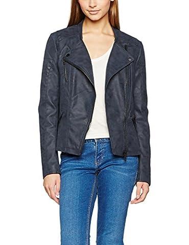 ONLY Damen Jacke Onlava Faux Leather Biker Otw Noos, Blau (Dark Navy), 38