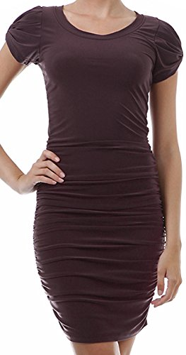 Damenkleid Kurzes Business-Kleid Cocktailkleid Kurzarm Stretch Dunkelbraun