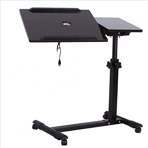 Laptop-Tischwagen mit höhenverstellbarer Höhenverstellung Land-Moving-Lift-Nachttisch, schwarz (mit Mauspad), Schwarznuss
