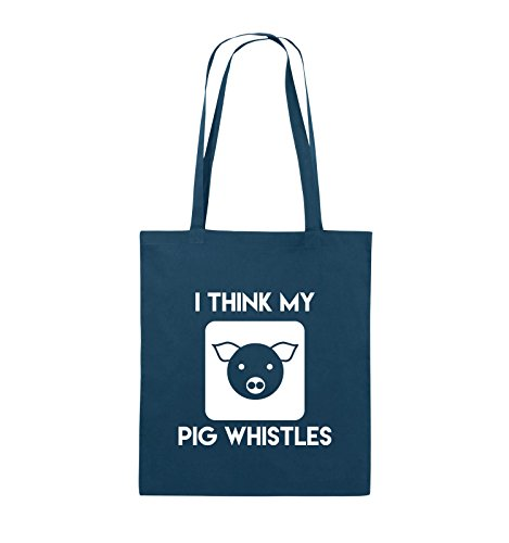 Comedy Bags - I THINK MY PIG WHISTLES - Jutebeutel - lange Henkel - 38x42cm - Farbe: Schwarz / Pink Navy / Weiss