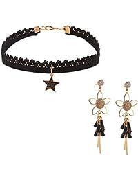 Zephyrr Fashion Dangler Tassel Earrings And Choker Necklace Combo For Girls