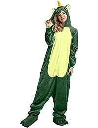 LATH.PIN Cosplay Unicorn Pigiama Animali Unisex Pigiama Party Halloween Sleepwear Costume Cosplay Flanella Tuta S M L XL S(148-160CM), Unicorn Verde