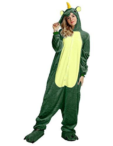 Einhorn PyjamaTierkostüme Jumpsuit Erwachsene Schlafanzug Unisex Cosplay (XL(Höhe175-182CM), Grün Einhorn) (Grüne Kostüme)