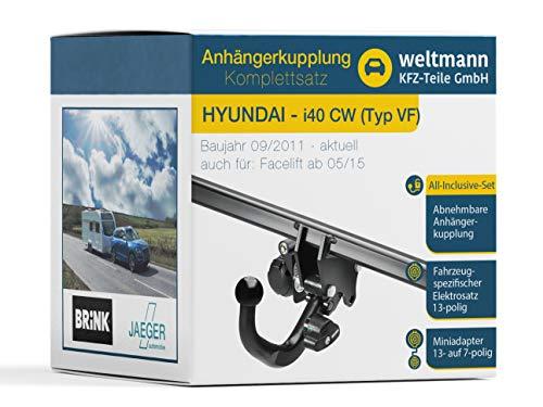 Weltmann AHK Komplettset geeignet für Hyundai i40 CW Typ VF Brink Abnehmbare Anhängerkupplung + fahrzeugspezifischer Jaeger Automotive Elektrosatz 13-polig