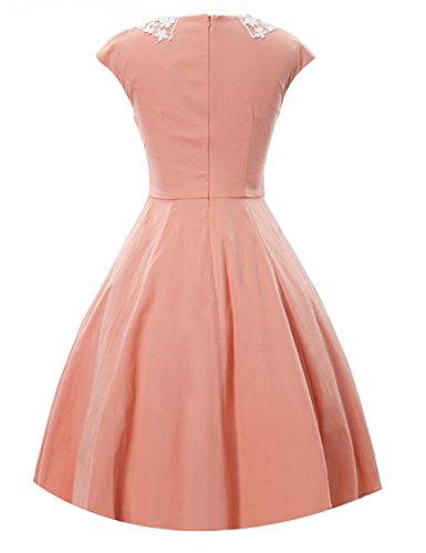 VKStar® Vintage 1950s Chic Klassisch Damen Kleid Audrey Hepburn Dress Rockabilly Swing Abendkleid Cocktail Partykleid Rosa
