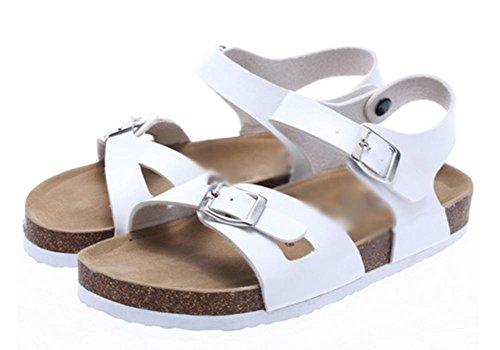Été sandales à bout ouvert mot de liège femelle romaine chaussures sauvages pantoufles liège White
