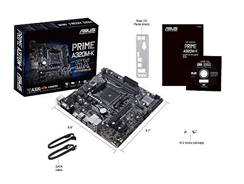 Asus AMD AM4 A320 mATX - Placa con iluminación LED, DDR4 3200MHz, 32Gb/s M.2,...