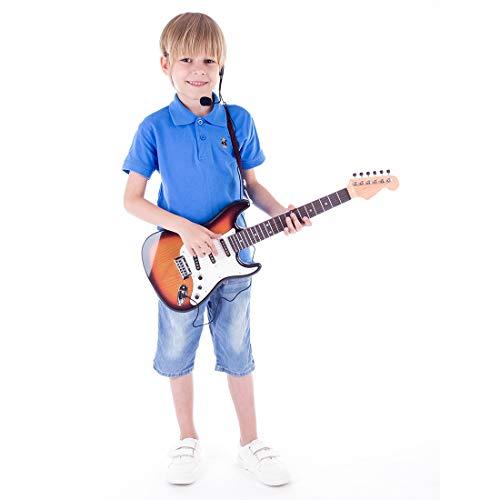 MRKE Guitarra Electrica Niños con Microfono Amplificador 66cm 6 Cuerdas Rock Juguete de Instrumentos Musicales Guitarra Regalo para Infantil Niño y Niña 3-8 Años