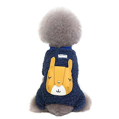 Yowablo Hund Hoodies Haustier-Sweatshirt Wintermantel Vierbeiniger Giraffenmantel Herbst und Winter warm halten (XXL,Blau)