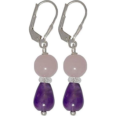 I de Be, cuarzo rosa, bergkris tal, L amatista piedras preciosas pendientes 925plata, longitud 4,0cm, en estuche de regalo, 38115325071403