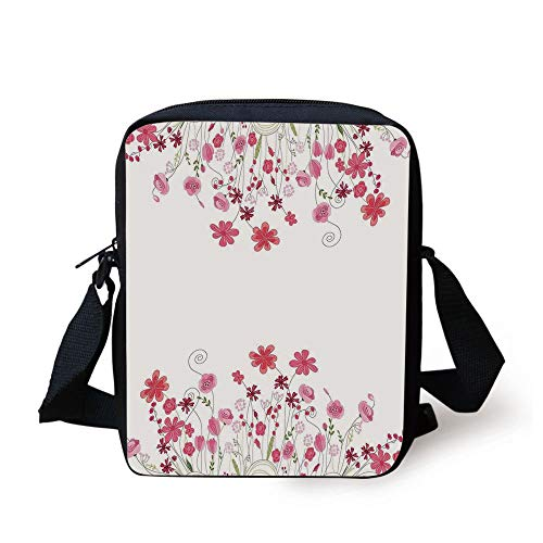 Flower House Decor,Detailed Contour Herbs and Blossoms Bridal Style Pure Simplistic Floral Theme,Pink Green White Print Kids Crossbody Messenger Bag Purse (Dice Bag Pink)