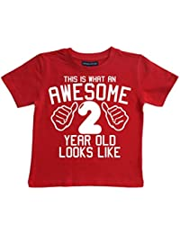 This What AN Awesome 2 Year Old Looks Like Red Boys 2nd Birthday T-Shirt In Size 2-3 Years With A White Print