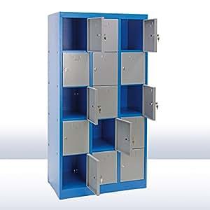DEMA Schließfachschrank 15 Fächer blau/grau