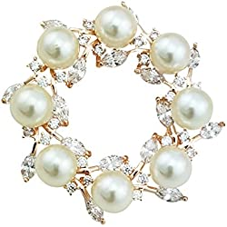 QUKE CZ Damen Gold-Ton Rund Blumen Brosche Weiß Kristall Perle Anstecknadel Brauthochzeits Geschenke