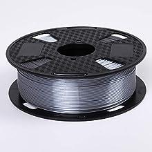 Eono by Amazon Silk Silver Filament 1.75 mm de filament pour imprimante 3D Bobine de 2,2 kg (1KG) Matériau d'impression 3D Silky Shine Brillant